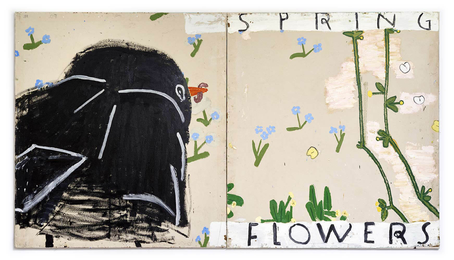 Blackbird and Spring Flowers, 2015, oil on canvas, 183 x 328 cm