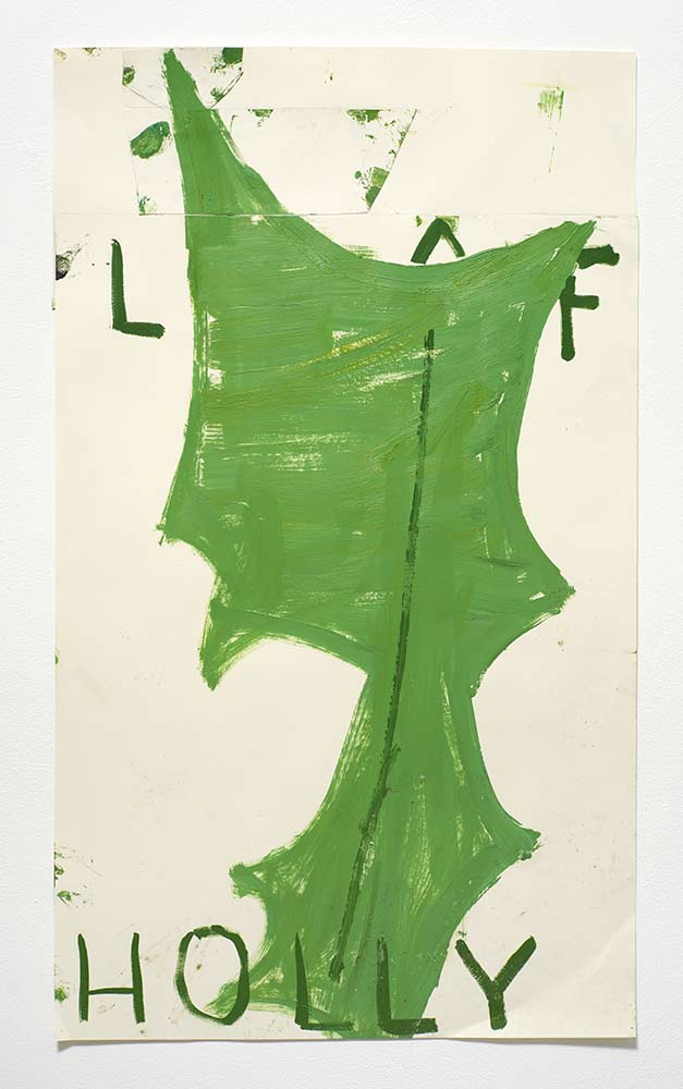 Holly Leaf, 2015, oil on paper, collage, 101 x 60 cm